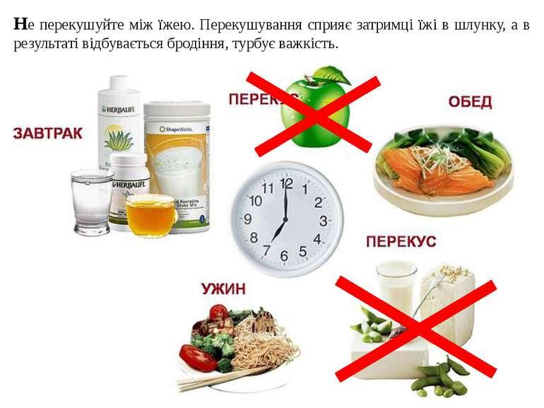 Не перекушуйте між їжею. Перекушування сприяє затримці їжі в шлунку, а в резу...