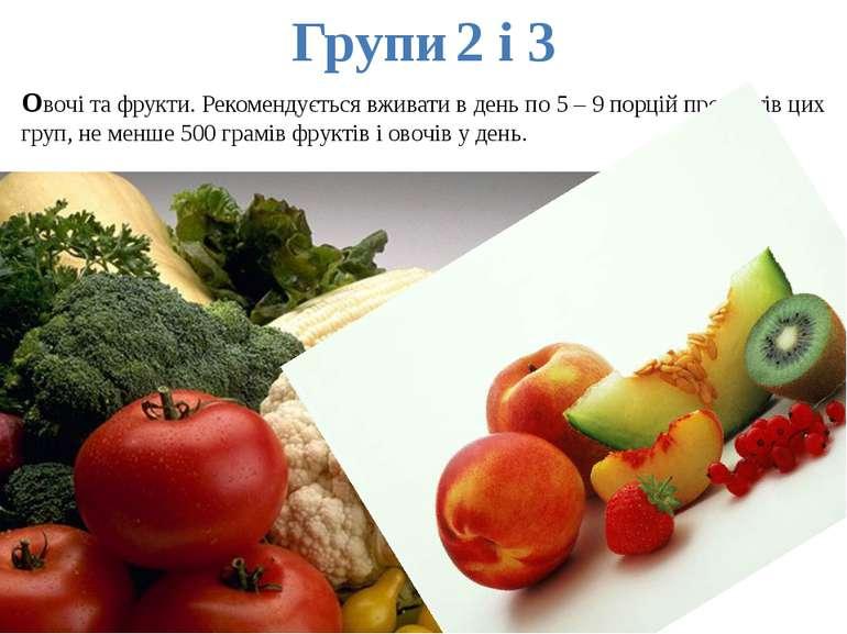 Групи 2 і 3 Овочі та фрукти. Рекомендується вживати в день по 5 – 9 порцій пр...
