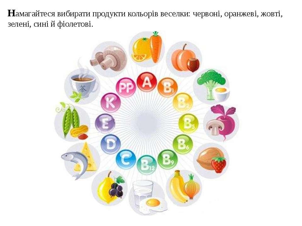 Намагайтеся вибирати продукти кольорів веселки: червоні, оранжеві, жовті, зел...