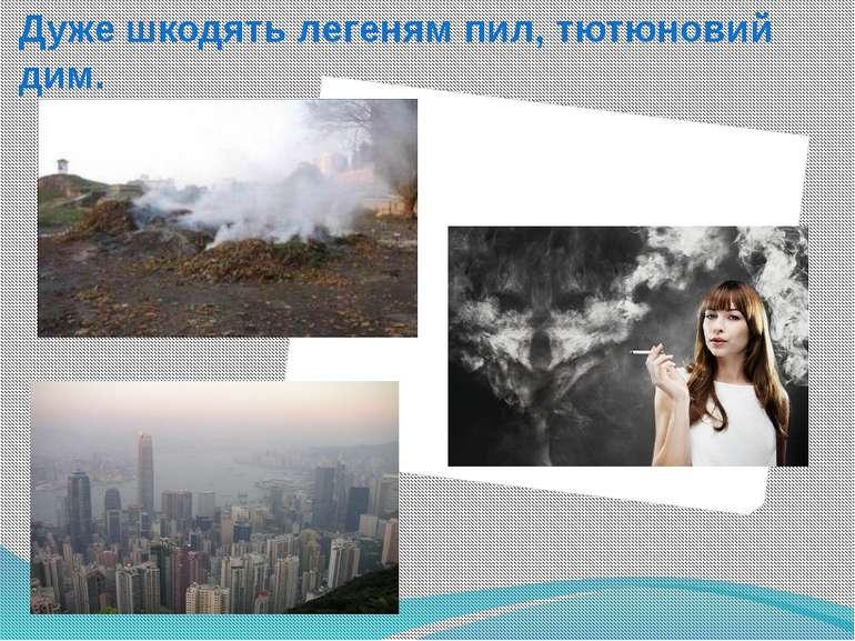 Дуже шкодять легеням пил, тютюновий дим.