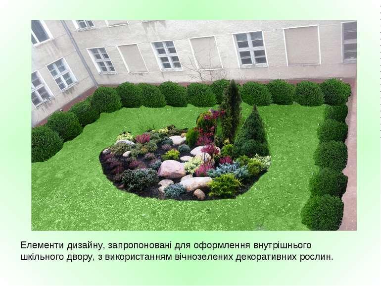 Елементи дизайну, запропоновані для оформлення внутрішнього шкільного двору, ...