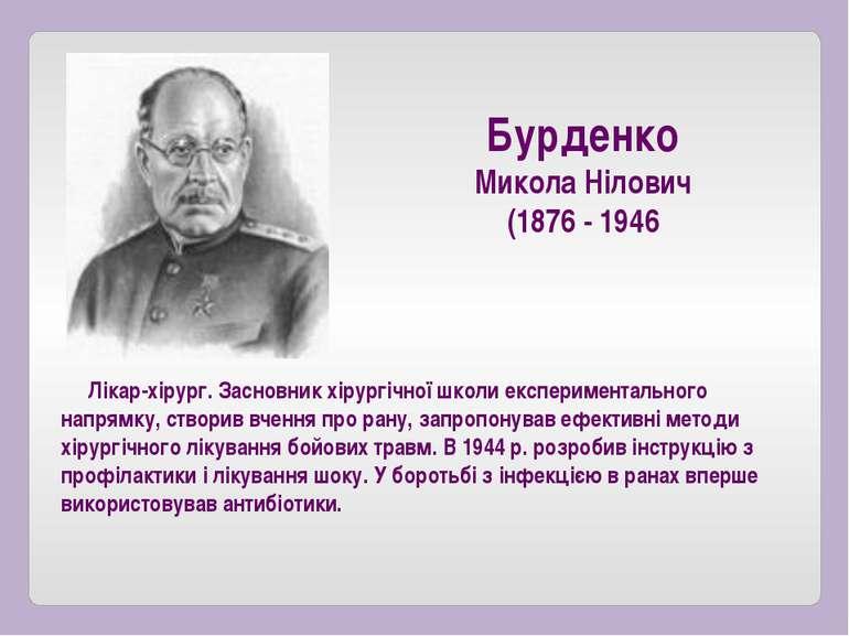 Бурденко Микола Нілович (1876 - 1946 Лікар-хірург. Засновник хірургічної школ...