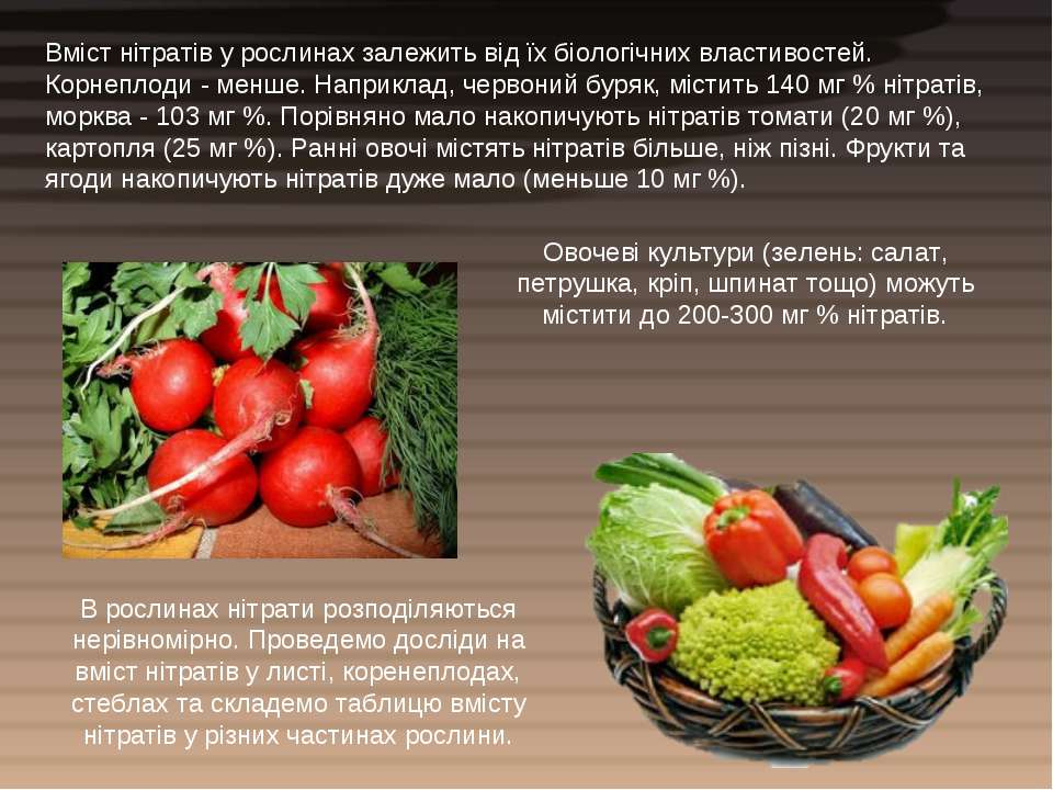 Вміст нітратів у рослинах залежить від їх біологічних властивостей. Корнеплод...
