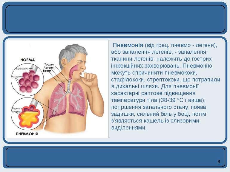 Пневмонія (від грец. пневмо - легеня), або запалення легенів, - запалення тка...