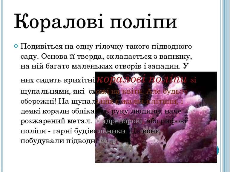 Коралові поліпи Подивіться на одну гілочку такого підводного саду. Основа її ...