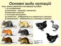 Основні види мутацій Існує чимало варіантів класифікацій мутацій: І. За поход...
