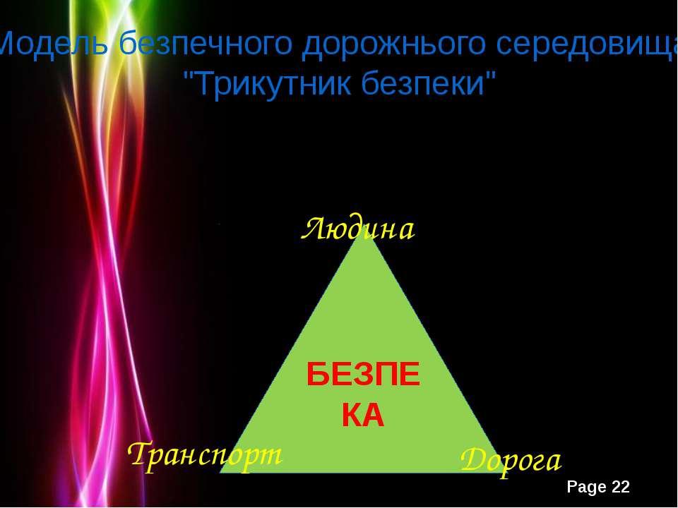 """Модель безпечного дорожнього середовища """"Трикутник безпеки"""" Дорога Powerpoint..."""