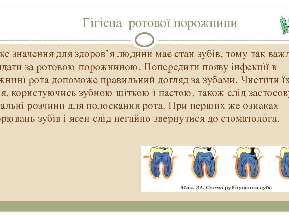 Гігієна ротової порожнини Велике значення для здоров'я людини має стан зубів,...