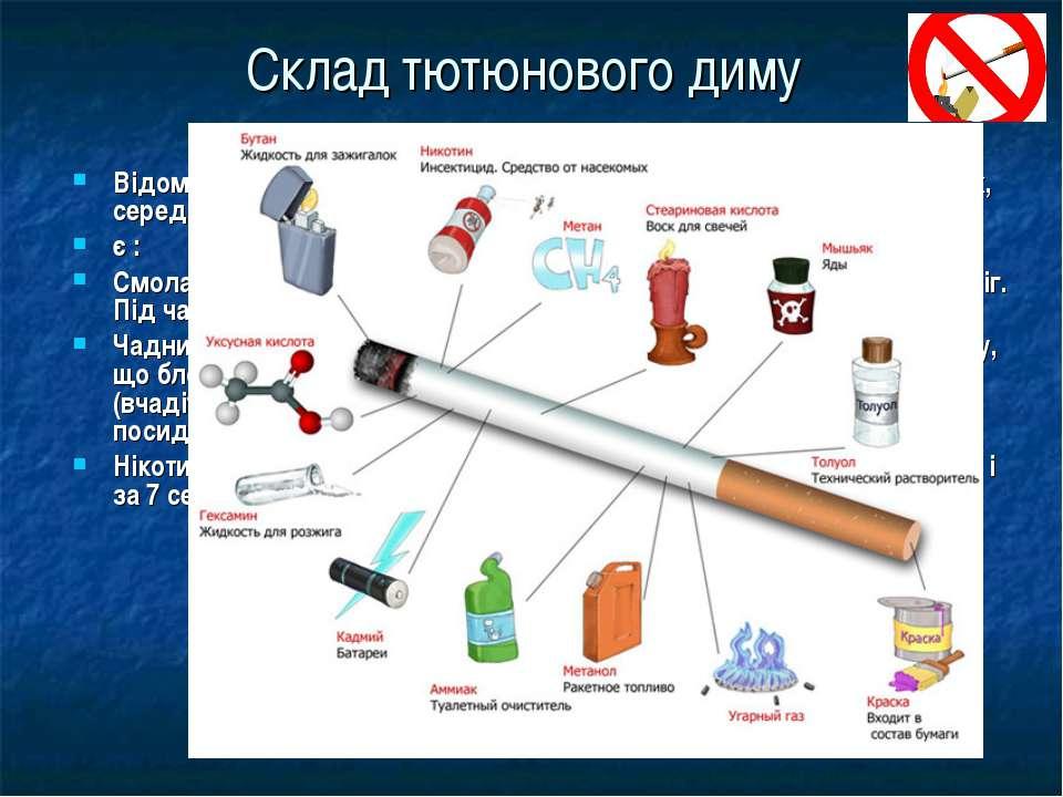 Склад тютюнового диму Відомо, що тютюновий дим містить понад 4000 різних хімі...
