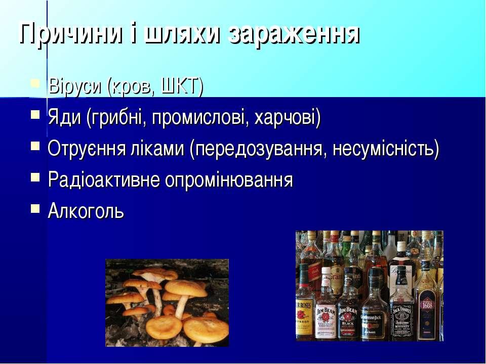 Причини і шляхи зараження Віруси (кров, ШКТ) Яди (грибні, промислові, харчові...