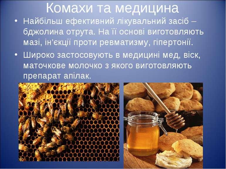 Комахи та медицина Найбільш ефективний лікувальний засіб – бджолина отрута. Н...