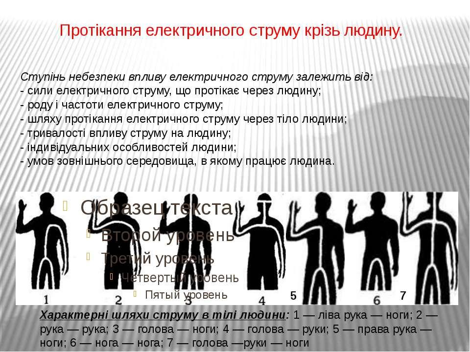 Протікання електричного струму крізь людину. Характерні шляхи струму в тілі л...