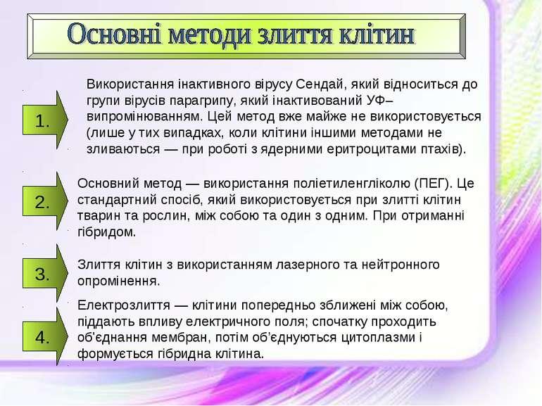 1. Використання інактивного вірусу Сендай, який відноситься до групи вірусів ...