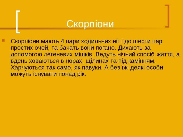 Скорпіони Скорпіони мають 4 пари ходильних ніг і до шести пар простих очей, т...