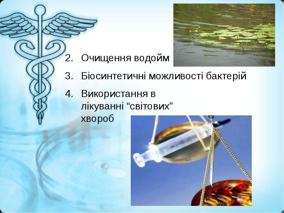 """Очищення водойм Біосинтетичні можливості бактерій Використання в лікуванні """"с..."""