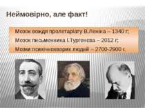 Неймовірно, але факт! Мозок вождя пролетаріату В.Леніна – 1340 г; Мозок письм...