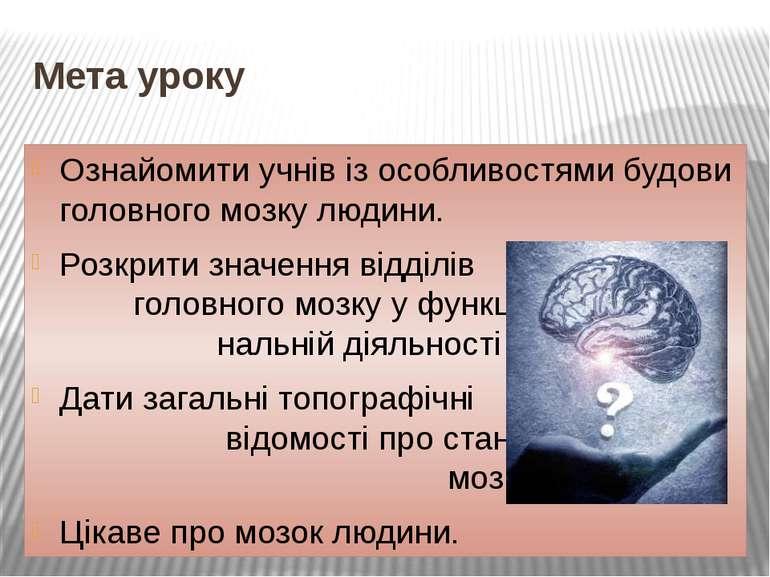 Мета уроку Ознайомити учнів із особливостями будови головного мозку людини. Р...