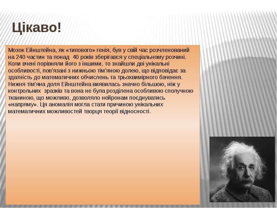 Цікаво! Мозок Ейнштейна, як «типового» генія, був у свій час розчленований на...