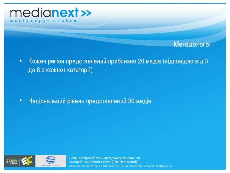 Методологія Кожен регіон представлений приблизно 20 медіа (відповідно від 3 д...