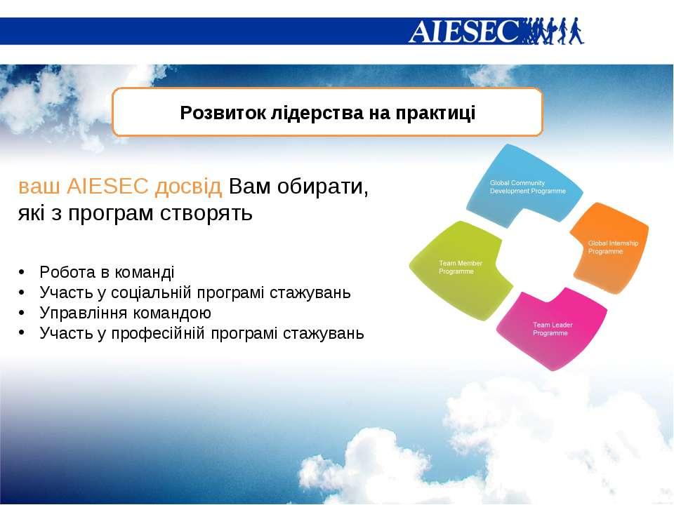 Розвиток лідерства на практиці Робота в команді Участь у соціальній програмі ...