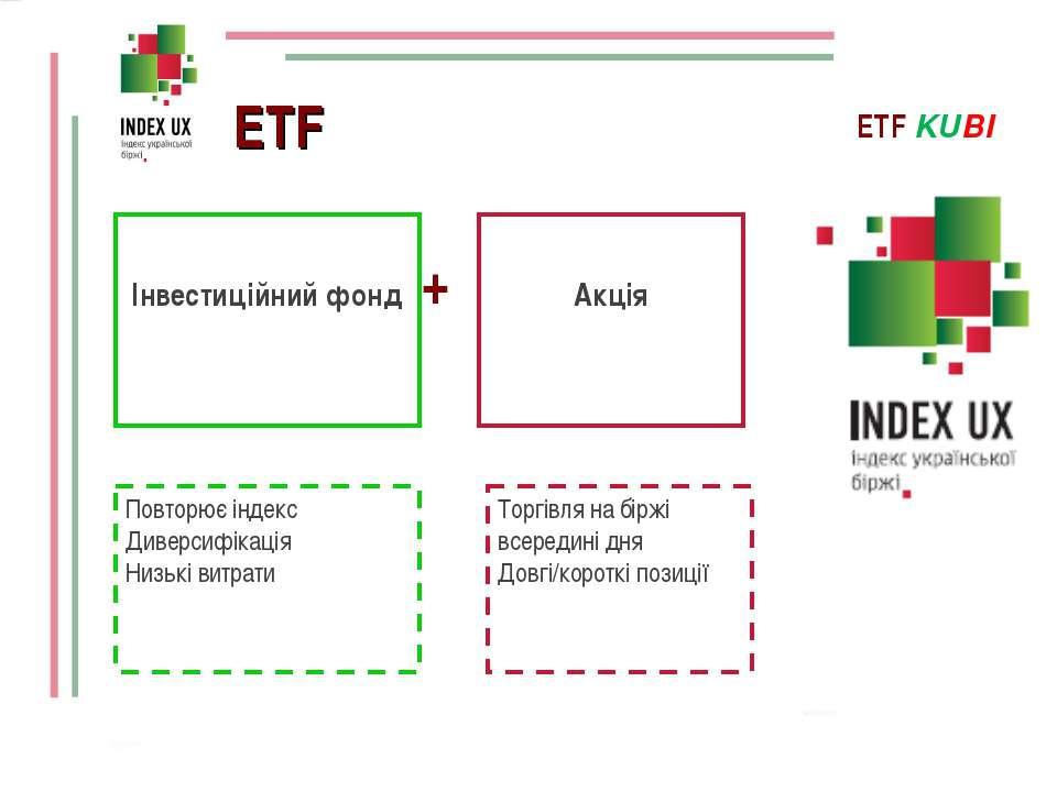 + = ETF Інвестиційний фонд Акція ETF KUBI Повторює індекс Диверсифікація Низь...