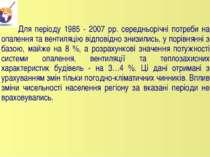 Для періоду 1985 - 2007 рр. середньорічні потреби на опалення та вентиляцію в...