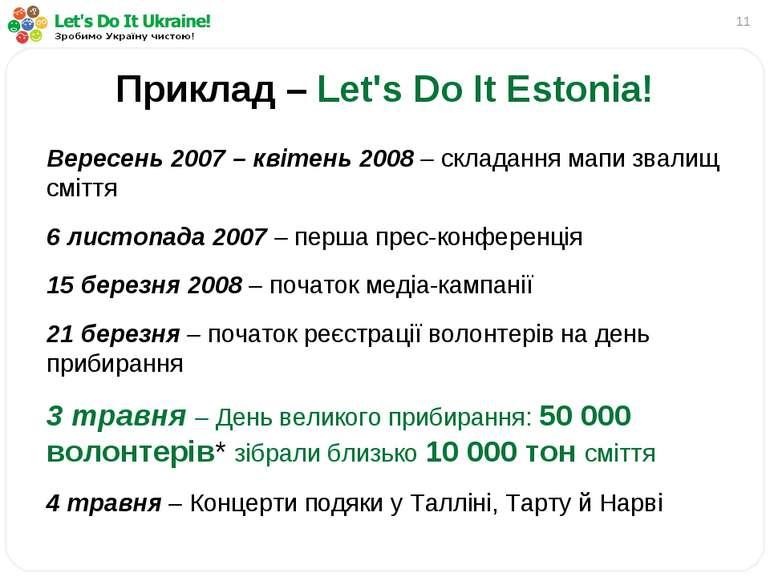* Приклад – Let's Do It Estonia! Вересень 2007 – квітень 2008 – складання мап...