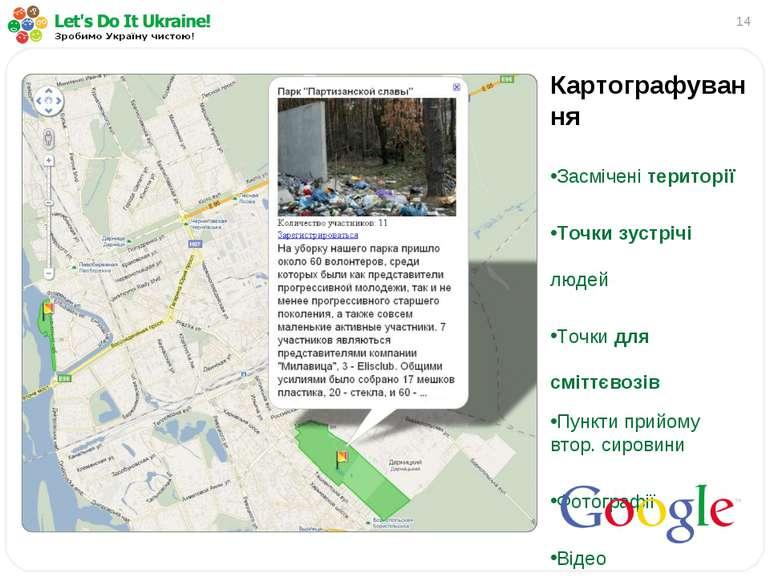 * Картографування Засмічені території Точки зустрічі людей Точки для сміттєво...