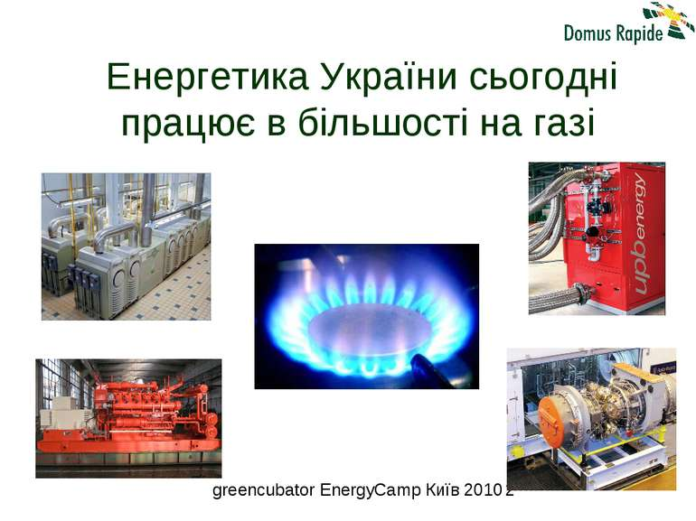 Енергетика України сьогодні працює в більшості на газі greencubator EnergyCam...