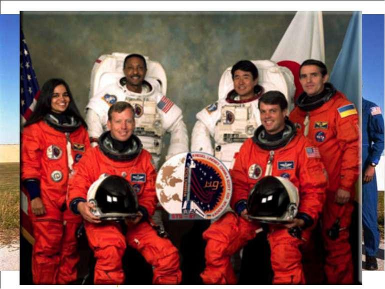 """Екіпаж STS-87 на фоні """"Коламбії"""". Фото NASA."""