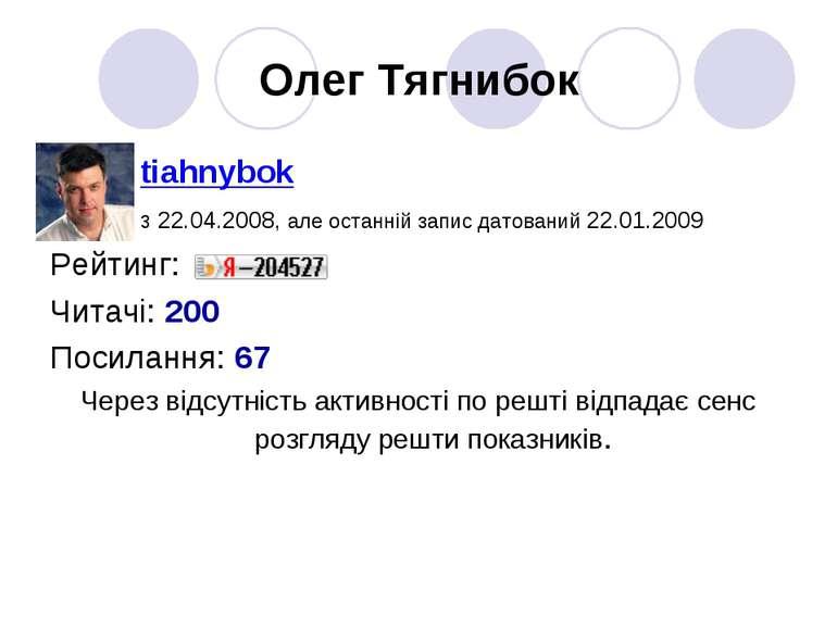 Олег Тягнибок tiahnybok з 22.04.2008, але останній запис датований 22.01.2009...