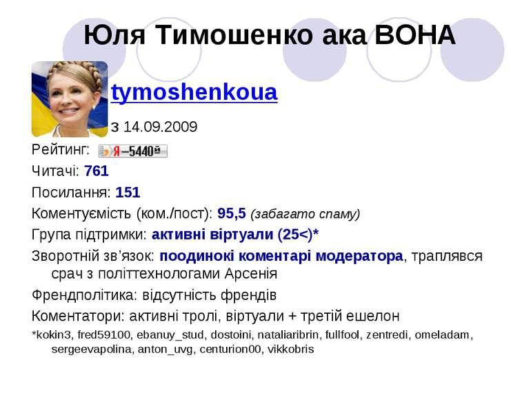 Юля Тимошенко ака ВОНА tymoshenkoua з 14.09.2009 Рейтинг: Читачі: 761 Посилан...