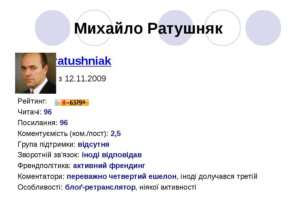 Михайло Ратушняк ratushniak з 12.11.2009 Рейтинг: Читачі: 96 Посилання: 96 Ко...