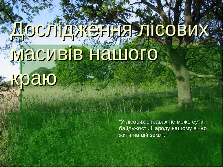 """Дослідження лісових масивів нашого краю """"У лісових справах не може бути байду..."""