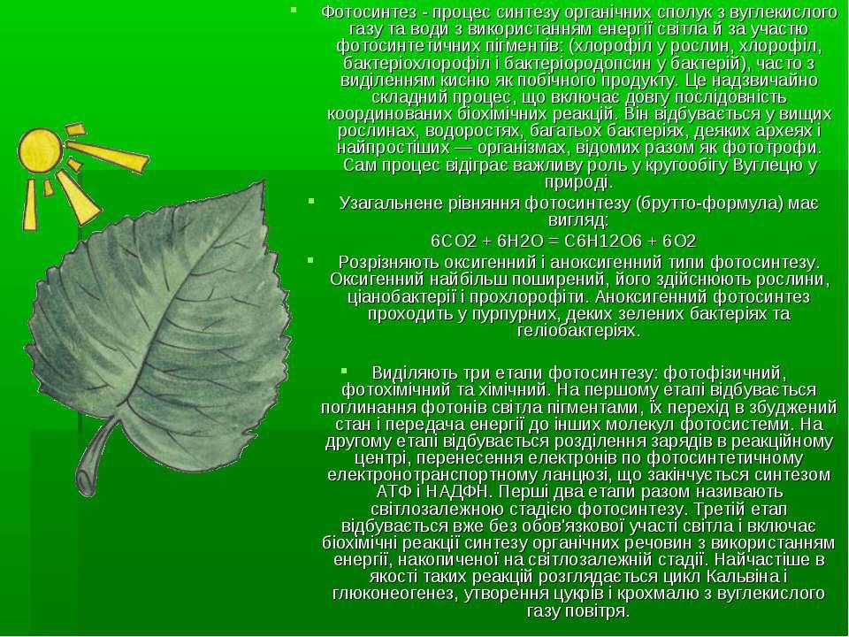 Фотосинтез - процес синтезу органічних сполук з вуглекислого газу та води з в...