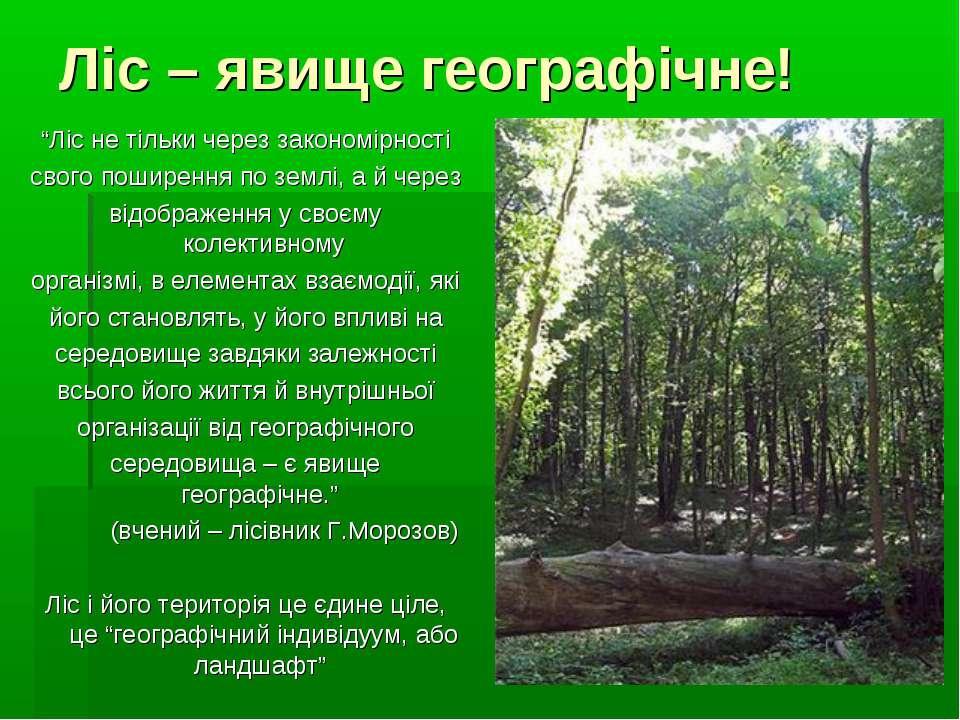 """Ліс – явище географічне! """"Ліс не тільки через закономірності свого поширення ..."""
