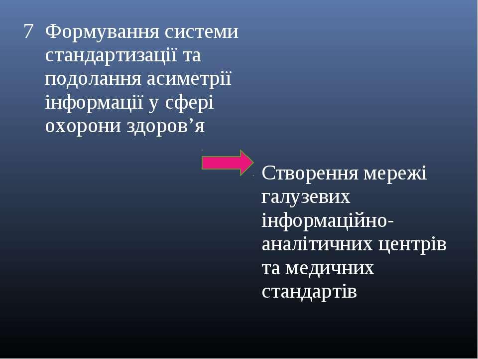 7 Формування системи стандартизації та подолання асиметрії інформації у сфері...