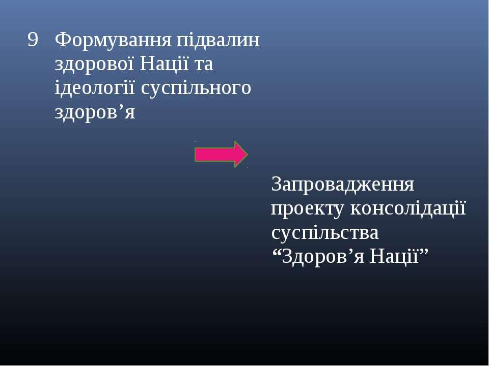 9 Формування підвалин здорової Нації та ідеології суспільного здоров'я Запров...