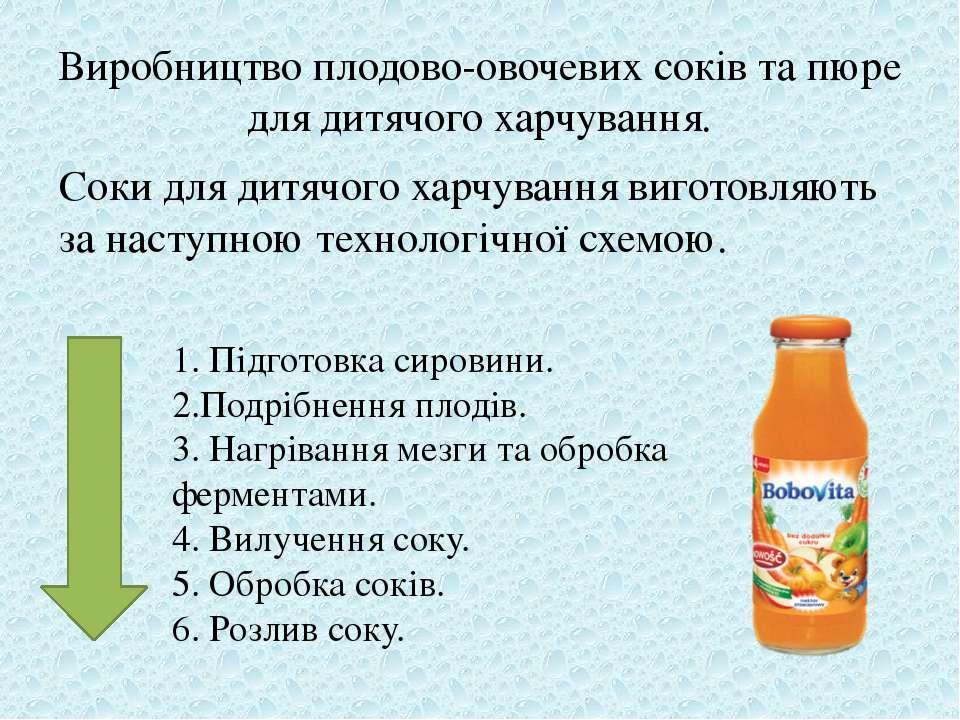 Виробництво плодово-овочевих соків та пюре для дитячого харчування. Соки для ...