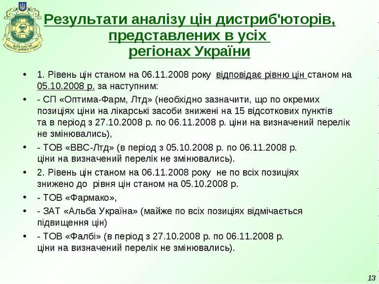 Результати аналізу цін дистриб'юторів, представлених в усіх регіонах України ...