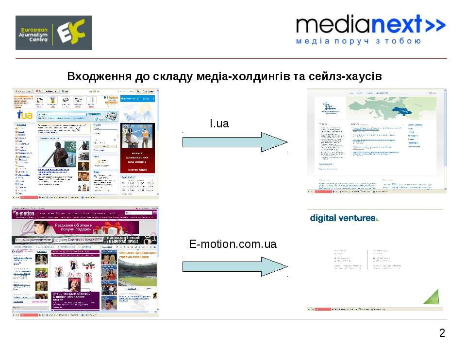 2 Входження до складу медіа-холдингів та сейлз-хаусів I.ua E-motion.com.ua