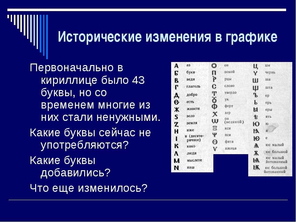 Исторические изменения в графике Первоначально в кириллице было 43 буквы, но ...