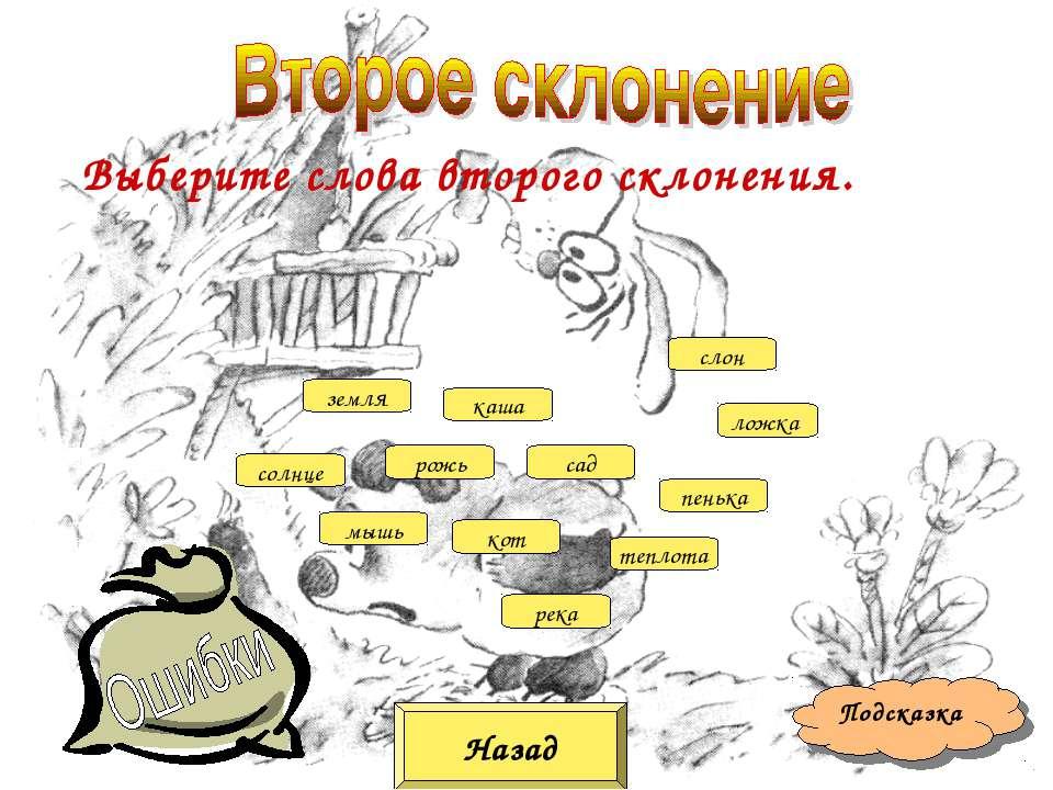 Назад Подсказка Выберите слова второго склонения. мышь кот рожь сад земля теп...