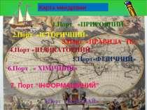 Карта мандрівки 1.Порт «ПРИРОДНИЙ» 2.Порт «ІСТОРИЧНИЙ» 3.Порт «ПРАВИЛА ТБ» 4....