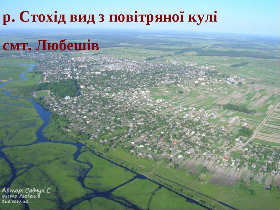 р. Стохід вид з повітряної кулі смт. Любешів