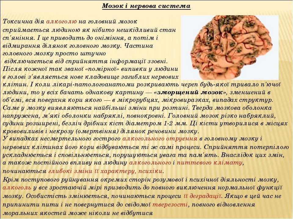 Мозок і нервова система Токсична діяалкоголюна головний мозок сприймається ...