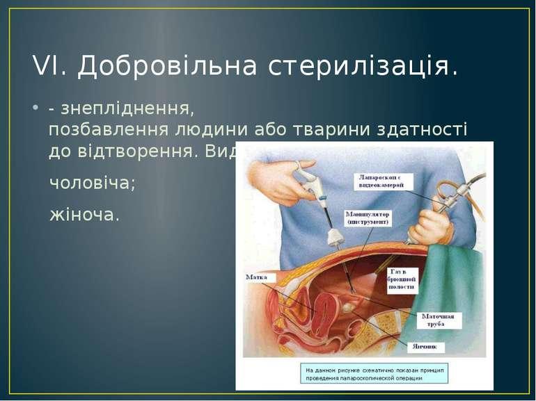 VI.Добровільна стерилізація. - знепліднення, позбавленнялюдиниаботварини...