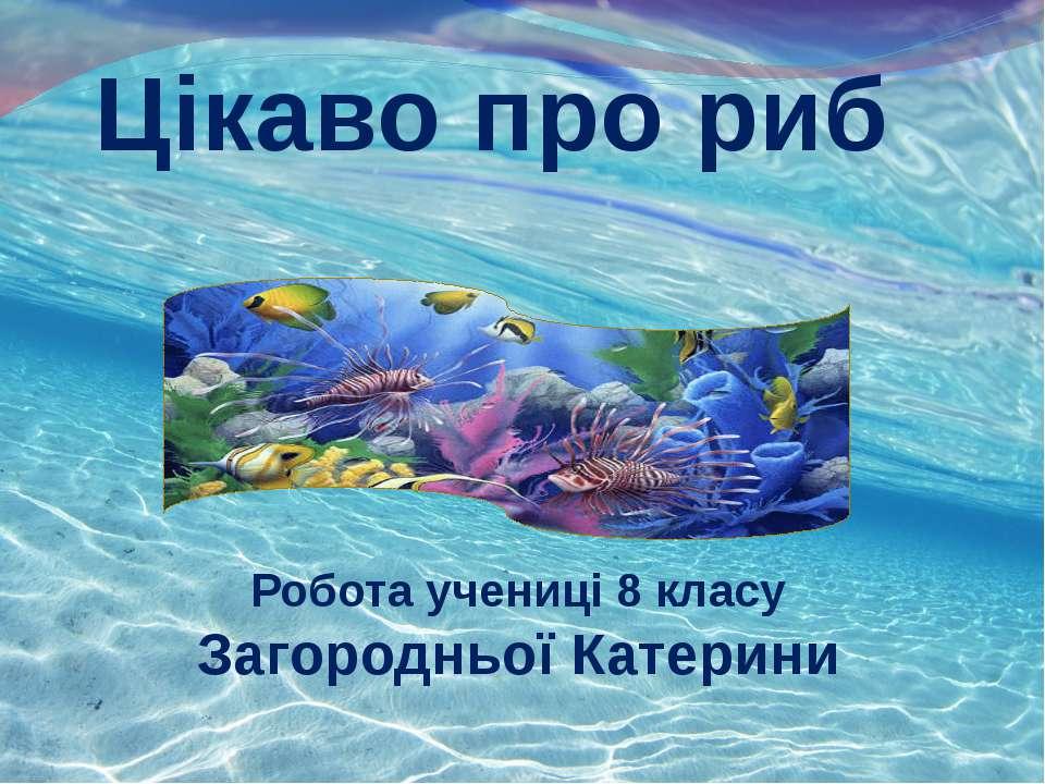 Цікаво про риб Робота учениці 8 класу Загородньої Катерини