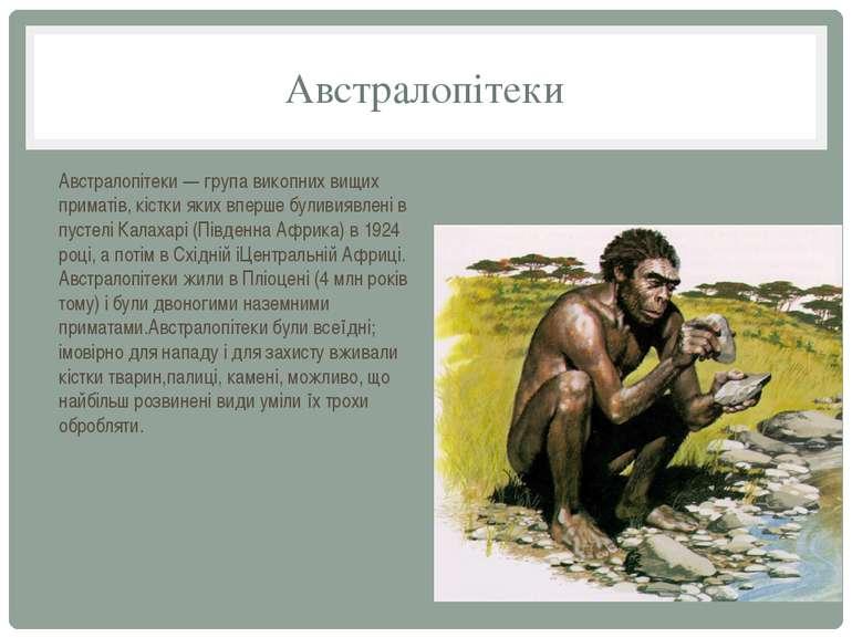 Австралопітеки Австралопітеки — група викопних вищих приматів, кістки яких вп...