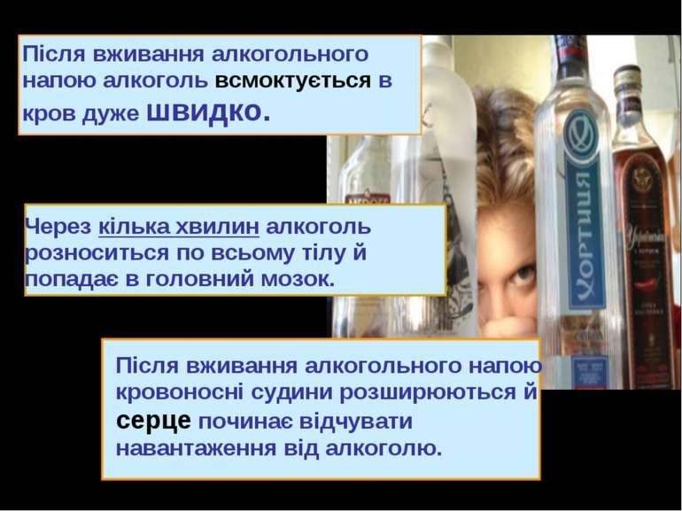 Після вживання алкогольного напою алкоголь всмоктується в кров дуже швидко. П...